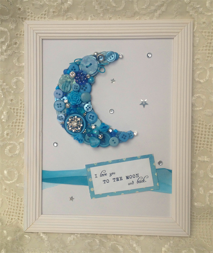 Turquoise/Blue Button & Bling \'I love you to the moon & back Frame ...