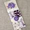 elephant, purple, cross-stitched, linen, screen-printed, bookmark