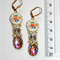 Vintage Triple dangle glass opal crystal porcelain Bright floral ruby earrings