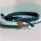SPARROW Macramé Bracelet -Navy Waxed Cotton Cord and Brown Lacquered bird charm