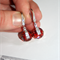 Austrian Swarovski Red Magma spinning crystal silver pave drop earrings