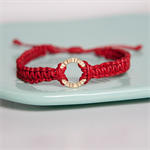 CIRCLE Macramé Bracelet - Red Waxed Cotton Cord and Gold Plated Textured Ring
