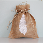 Feather Hand Stenciled Burlap Favour Bags. Set of 10. Various Colours