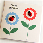 happy birthday card ladybug and flowers
