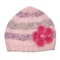 Girls Handmade Pink Knitted Wool Beanie Hat & Flower : Child Kids SIZE 2 3 4