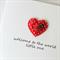 baby card ladybug & satin heart