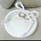 Porcelain wedding ring dish. Ring pillow. Round. White, Ivory. Ceramic.