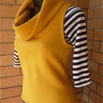 Size M Oversized cowl neck top fleece vest Mustard Yellow Wanderlust Clothing