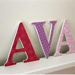 Wooden 12cm Wall or Door Letters. 3 letters.