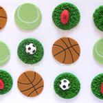 12 x Edible Sports Cupcake Decorations Footy, Basketball, Tennis, Soccer