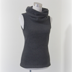 SIZE XS Oversized cowl neck top sleeveless polar fleece vest grey Wanderlust
