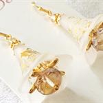 Gold and white Flower Earrings