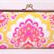 Fuchsia on yellow large clutch purse