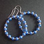 40mm Iridescent Blue & Silver Hoop Earrings