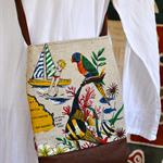 Vintage Queensland Souvenir Linen & Leather Hip Bag