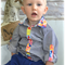 Boys Button Up Shirt - Perry - Navy & White Stripe with Contrast Collar & Cuffs