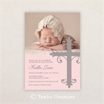 Girls Photo Christening/baptism Invitations. Large ornate cross.