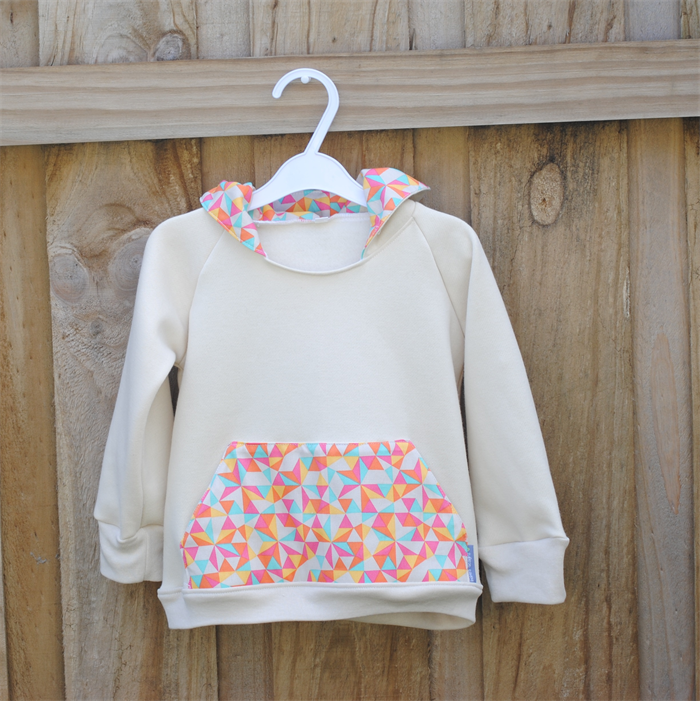 Girls Hoodie Fleece Baggy Jumper With Triangle Print Size