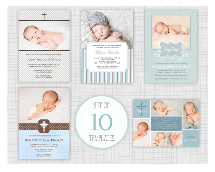 ... Mini Pack 20 10 PSD Baptism And Christening Invitation Templates Mixed  Designs Mini Pack 20