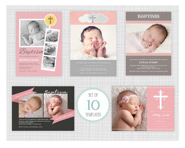10 Psd Baptism And Christening Invitation Templates Mixed Designs