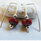 Argentium Sterling Silver range - cranberry red Czech glass bead earrings