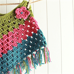 granny chic poncho | toddler | bright wool | green pink teal