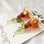 Green and Apricot Flower Earrings
