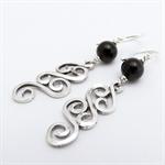 Sterling silver swirl and black onyx drop earrings