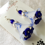 Blue and white Flower Earrings