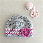 baby girl beanie | crochet | pink grey wool | 4 - 12 months