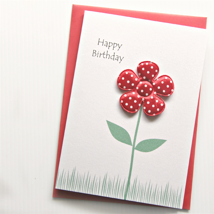 Birthday card for her red fabric flower handmade the little card
