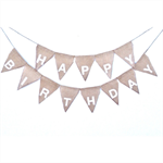 HAPPY BIRTHDAY White Hessian Burlap Shabby chic Party Photo prop Bunting
