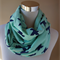 Mint and Navy Bird Infinity Scarf (Snood) Maternity.Breast Feeding Cover Wrap