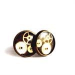 CLOSING DOWN SALE Clockwork steampunk Bronze Post Stud Earrings