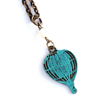 Hot Air Balloon Teal Turquoise Patina Pendant Necklace