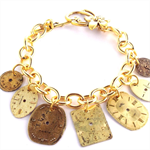 CLOSING DOWN SALE Steampunk vintage dials clockwork gold charm bracelet