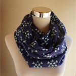 Mint Triangles on Navy Infinity Scarf (Snood) Maternity. Breast feeding Cover.
