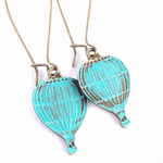 Hot Air Balloon Turquoise Teal Patina Earrings