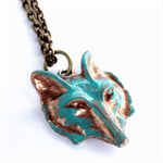 CLOSING DOWN SALE Fox Wolf Teal Turquoise Patina Woodlands Pendant Necklace.