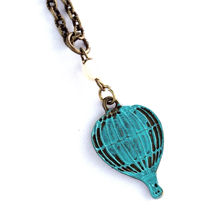 CLOSING DOWN SALE Hot Air Balloon Teal Turquoise Patina Pendant Necklace
