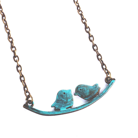 Love Birds Turquoise Teal Patina Bronze boho vintage Pendant Necklace.