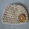 Basic Woollen Beanie with Oversized Button / Hat / Size 6-12 Months
