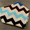 Bandana Dribble Bib - Brown and Blue Chevron