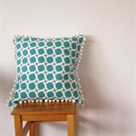 Retro print in teal ~ pom pom cushion