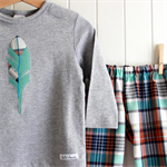 feather & check | toddler tee | boys size 2