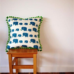Elephants & Apples pom pom cushion