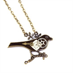 Steampunk Clockwork bronze Robin bird charm pendant Necklace *Exclusive design*