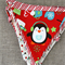 Christmas bunting with little penguin, red and white, stripes, Christmas in July