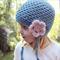 crochet earflap beanie   toddler girls   aqua blue wool bamboo   2- 4yrs