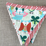 Christmas bunting with owls, red stripes, snowflakes, Christmas in July